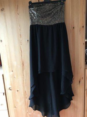 Schwarz Goldenes  vokuhila Kleid