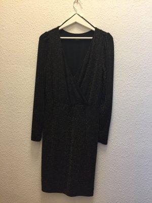 Soaked in luxury Vestido cruzado negro-color oro Poliéster