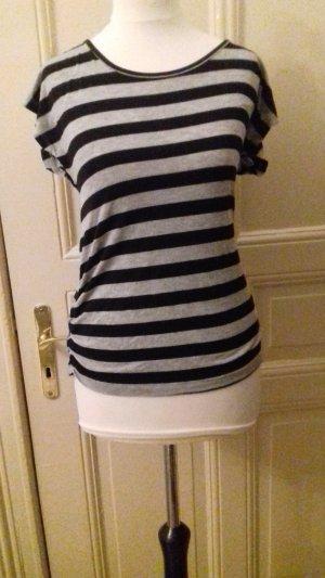 Schwarz-Grau gestreiftes Tshirt / hinten rückenfrei und Schleife