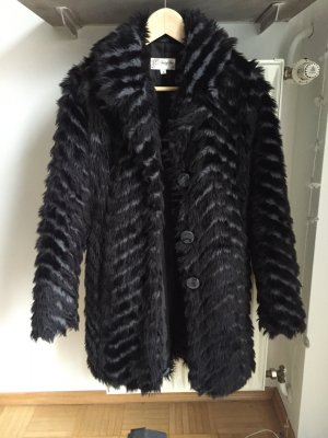 Schwarz Grau melierter Fake Fur Mantel