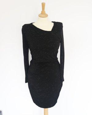 Schwarz grau meliertes Bodycon Kleid mit asymmetrischem Ausschnitt H&M M