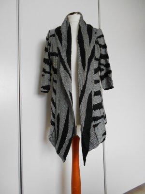 Schwarz grau weiß gemusterter Cardigan / Jacke