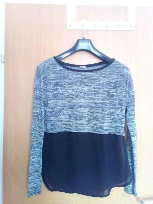 schwarz-grau-weißes Shirt mit schwarzem durchsichtigen