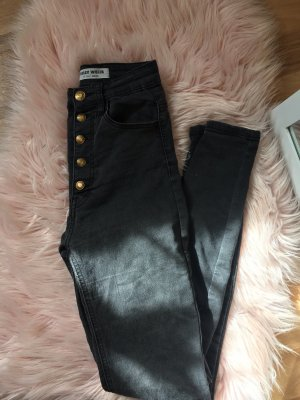 Schwarz/Graue Jeans High waist