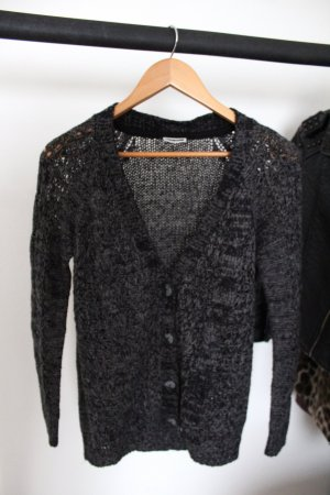 Noisy May Coarse Knitted Jacket black-grey
