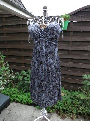 schwarz graues Empirekleid von Vero Moda 36 Pfauenaugenmuster