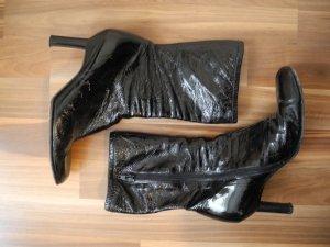 schwarz Lackleder LAck Leder echt Hugo Boss Boots Stiefel Stiefeletten Reißverschluss Absatz breite Spitze Hingukcer Luxus