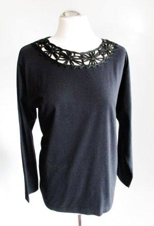 Schwarz Langarmshirt Häkelspitze Größe 40 42 Blumen T-Shirt Sommer Pullover Spitze