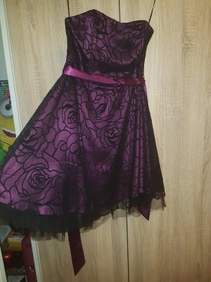 Schwarz lila Abendkleid