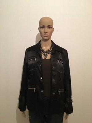 Schwarz matt glänzend Handbälle Blazer Jacke gefüttert fließender Fall edel hochwertig mit liebe zum Details Reißverschluss
