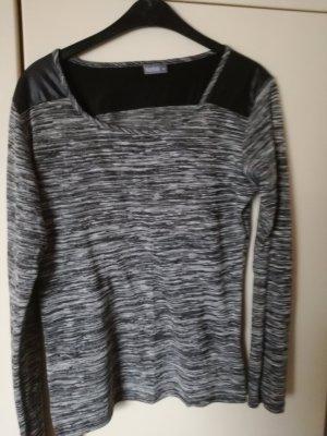 Schwarz-melierte Langarm-Shirt / dünner Pullover
