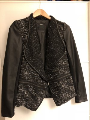 Schwarz melierte Übergangsjacke mit Leder