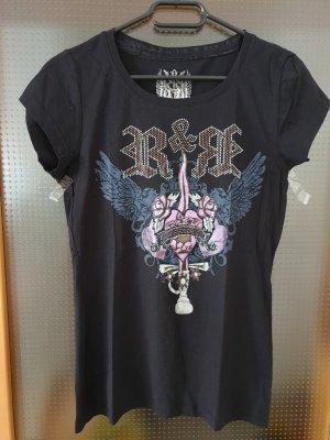 schwarz-pink-blaues T-Shirt von rich&royal