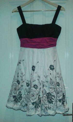 schwarz pink weißes Kleid mit gestickten Blumen Größe 38 Orsay