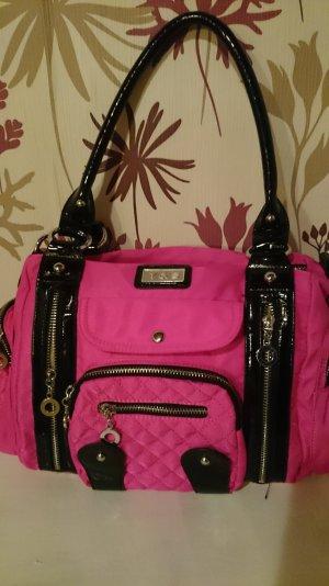 schwarz pinke Handtasche