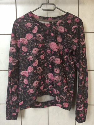 schwarz pinker Blumenpullover