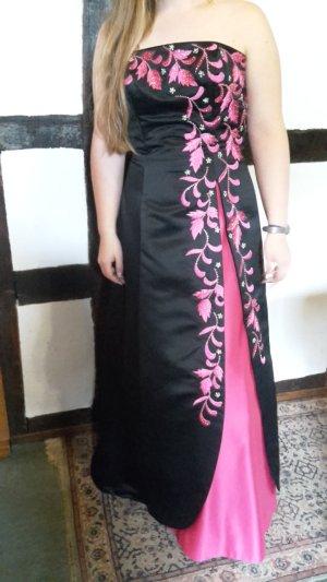 Schwarz pinkes Abendkleid mit Perlen im Blumenmuster von Niente Größe 40