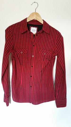schwarz-rot karierte Bluse