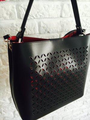 Vera Pelle Serviette noir-rouge clair cuir