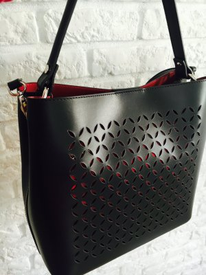 Schwarz_rot Leder Schulter Tasche Handtasche Umhängetasche echt Ledertasche