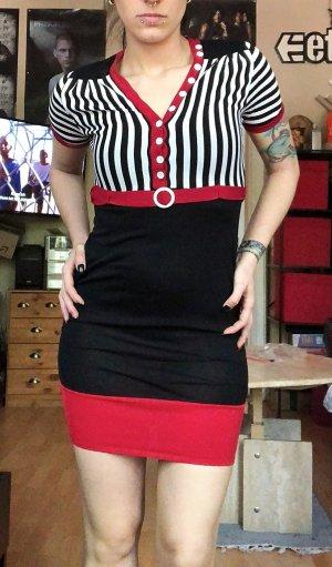 Schwarz,rot,weißes Missoni Designer Kleid Maritim Stil S