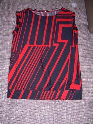 schwarz-rotes Top Von Yessica Gr. M mit graphischem Muster