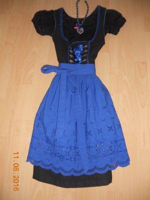 schwarz/royalblaues Dirndl mit Bluse,2 Schürzen, Strickjacke und Schmuck
