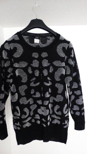 Schwarz-silber gemusterter Pullover in Gr. 40
