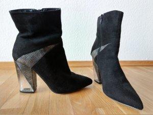Schwarz silberne Ankleboots / Stiefeletten