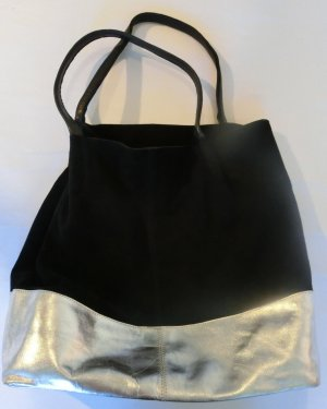 Carry Bag black-silver-colored suede