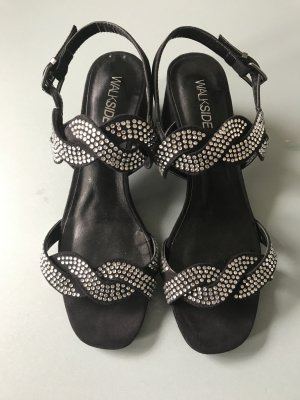 Strapped Sandals black-silver-colored imitation leather