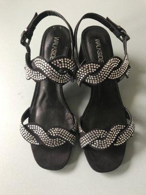 Sandalias de tiras negro-color plata Imitación de cuero