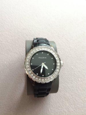 Schwarz-silberne Uhr von Pilgrim