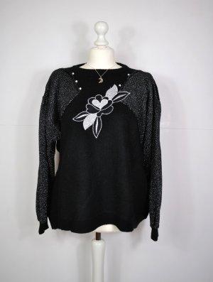 Schwarz Silberner Vintage Pullover mit floralen Detail