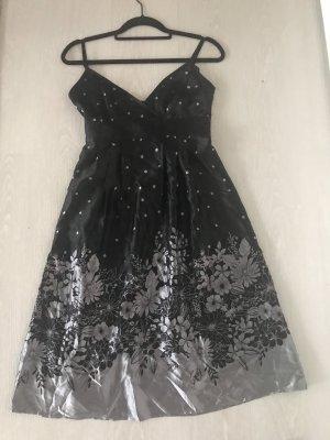 Schwarz, silbernes Kleid aus Seide von Ted Baker