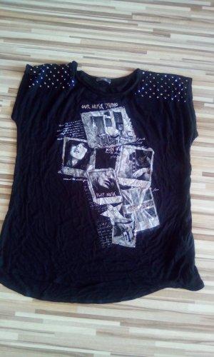 Schwarz/Silbernes T-Shirt mit Steinchen Gr.L