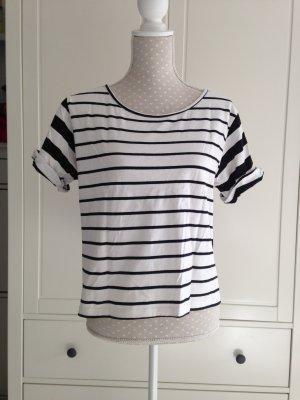 Schwarz weiß crop shirt von Pieces Gr M
