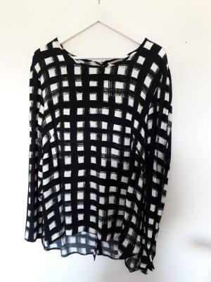 H&M Oversized blouse zwart-wit Viscose