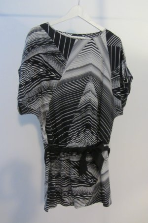 Schwarz-weiß gemusterte Seidentunika