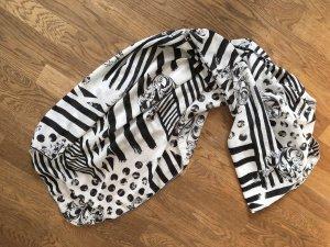 Schwarz-weiß gemustertes großes Halstuch