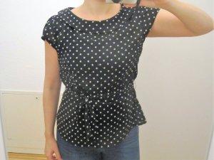 schwarz/ weiß gepunktete Bluse