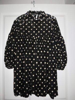Schwarz/weiß gepunktetes Kleid ZARA
