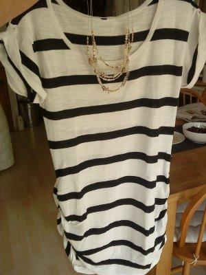 schwarz weiß geringeltes Feinstrick - Longshirt M