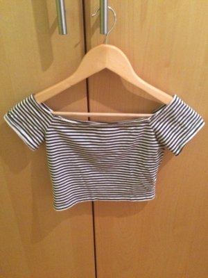 Schwarz - Weiß gestreifte Cropped Shirt