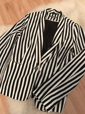 Schwarz-weiß gestreifter Blazer // Gr. 36,38