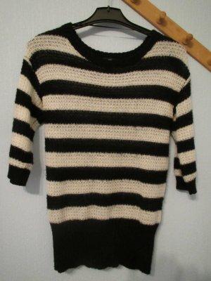 ***schwarz-weiß gestreifter Pullover von H&M Größe XS 3/4-Arm***
