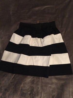 Falda de talle alto blanco-negro