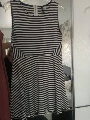 Schwarz/Weiß gestreiftes Kleid-Gr 42-Knielang