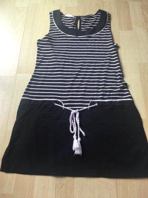 Schwarz/Weiß gestreiftes Kleid - Maritim
