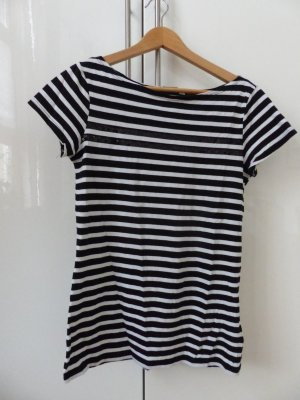 schwarz-weiß gestreiftes T-Shirt mit Pailletten
